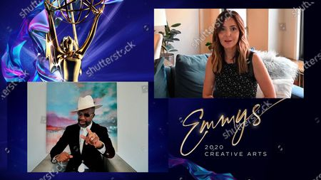 """JB Smoove presents the award for Outstanding Structured Reality Program to Jordana Hochman for """"Queer Eye"""" during the first night of the 2020 Creative Arts Emmy Awards, streamed live on Emmys.com on"""
