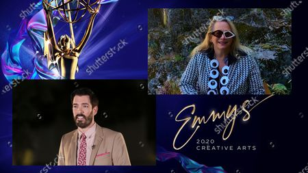 "Stock Image of Drew Scott presents the award for Outstanding Music Composition For A Documentary Series Or Special (Original Dramatic Score) to Laura Karpman for ""Why We Hate"" during the first night of the 2020 Creative Arts Emmy Awards, streamed live on Emmys.com on"
