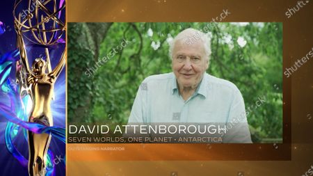 """David Attenborough accepts the award for Outstanding Narrator for """"Seven Worlds, One Planet"""" for """"Antarctica"""" during the first night of the 2020 Creative Arts Emmy Awards, streamed live on Emmys.com on"""