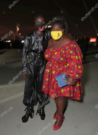 Achok Majak and Gabourey Sidibe appear at the Antebellum Rooftop Cinematic Experience at The Grove on September 14, 2020