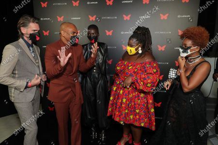 Writer/Director/Producer Christopher Renz, Writer/Director/Producer Gerard Bush, Achok Majak, Gabourey Sidibe and Janelle Monae appear at the Antebellum Rooftop Cinematic Experience at The Grove on September 14, 2020
