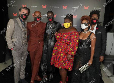Writer/Director/Producer Christopher Renz, Writer/Director/Producer Gerard Bush, Achok Majak, Gabourey Sidibe, Janelle Monae and Composer Nate Wonder appear at the Antebellum Rooftop Cinematic Experience at The Grove on September 14, 2020