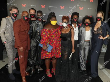 Writer/Director/Producer Christopher Renz, Writer/Director/Producer Gerard Bush, Jack Huston, Achok Majak, Gabourey Sidibe, Janelle Monae, Composer Nate Wonder, Kiersey Clemons and Lily Cowles appear at the Antebellum Rooftop Cinematic Experience at The Grove on September 14, 2020