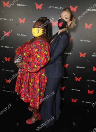 Gabourey Sidibe and Lily Cowles appear at the Antebellum Rooftop Cinematic Experience at The Grove on September 14, 2020