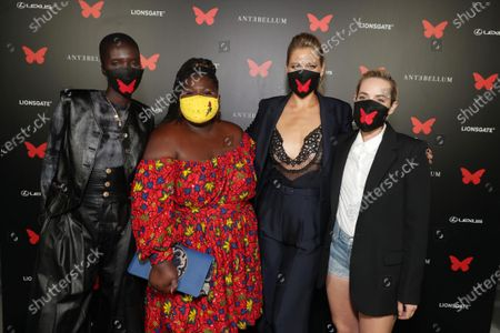 Achok Majak, Gabourey Sidibe, Lily Cowles and Jena Malone appear at the Antebellum Rooftop Cinematic Experience at The Grove on September 14, 2020