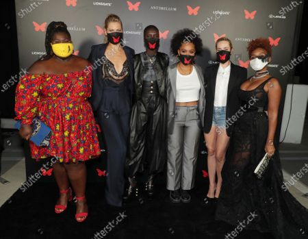 Gabourey Sidibe, Lily Cowles, Achok Majak, Kiersey Clemons, Jena Malone and Janelle Monae appear at the Antebellum Rooftop Cinematic Experience at The Grove on September 14, 2020