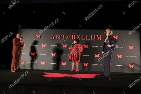 Writer/Director/Producer Gerard Bush, Writer/Director/Producer Christopher Renz, Gabourey Sidibe and Lily Cowles appear at the Antebellum Rooftop Cinematic Experience at The Grove on September 14, 2020