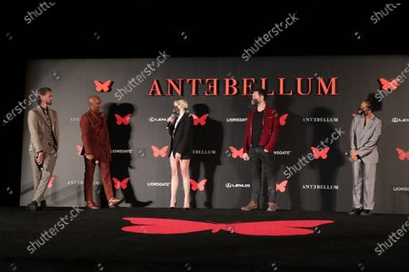 Stock Picture of Writer/Director/Producer Gerard Bush, Writer/Director/Producer Christopher Renz, Jena Malone, Jack Huston and Kiersey Clemons appear at the Antebellum Rooftop Cinematic Experience at The Grove on September 14, 2020