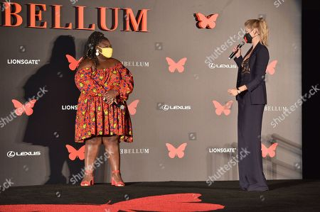 Stock Image of Gabourey Sidibe and Lily Cowles appear at the Antebellum Rooftop Cinematic Experience at The Grove on September 14, 2020