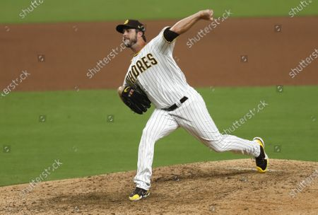 Drew Pomeranz of the San Diego Padres pitches during a game against the Colorado Rockies at Petco Park on Wednesday, Sept. 9, 2020 in San Diego, CA. (K.C. Alfred / The San Diego Union-Tribune)
