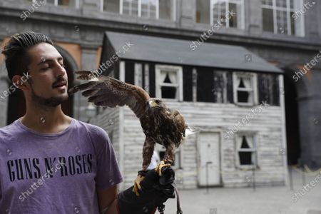 Stock Image of Lucio Ferrara, who works in bird control for the municipality in Piazza del Plebiscito, holds his eagle named, Iena, as he walks in the yard of the Royal palace where the house of U.S. civil rights campaigner Rosa Parks was rebuilt for public display by artist Ryan Mendoza, in Naples, Italy, . The rundown, paint-chipped Detroit house where Parks took refuge after her famous bus boycott is going on display in a setting that couldn't be more incongruous: the imposing central courtyard of the 18th century Royal Palace