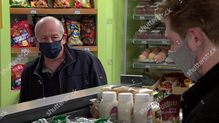 Coronation Street - Ep 10127 Monday 28th September 2020 - 1st Ep Geoff Metclafe, as played by Ian Bartholomew, is intrigued when he sees Nicky in the cafe giving Daniel Osbourne, as played by Rob Mallard, some money.