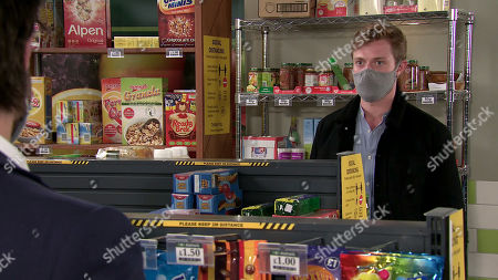 Coronation Street - Ep 10127 Monday 28th September 2020 - 1st Ep Geoff Metclafe is intrigued when he sees Nicky in the cafe giving Daniel Osbourne, as played by Rob Mallard, some money.