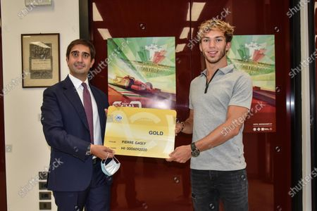 Editorial picture of French F1 driver Pierre Gasly receives honorary Italian Automobile Club card, Milan, Italy - 14 Sep 2020
