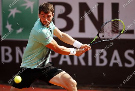 Pedro Martinez of Spain eyes the ball in his first round match against Sam Querrey of the US at the Italian Open in Rome, Italy, 15 September 2020.