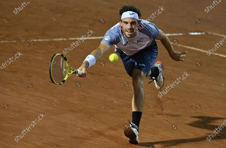 Marco Cecchinato of Italy in action in his first round match against British player Kyle Edmund at the Italian Open in Rome, Italy, 15 September 2020.