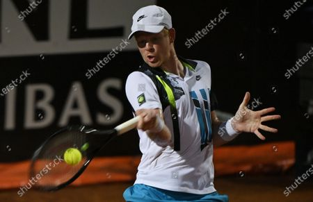 British player Kyle Edmund hits a forehand in his first round match against Marco Cecchinato of Italy at the Italian Open in Rome, Italy, 15 September 2020.