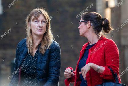 Allegra Stratton(Left) arrives in Downing Street.