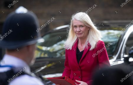 Amanda Milling, Minister without Portfolio, arrives in Downing Street for the Cabinet meeting.