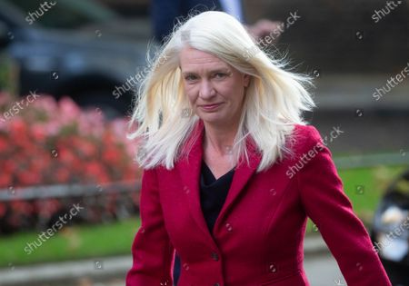 Stock Photo of Amanda Milling, Minister without Portfolio, arrives in Downing Street for the Cabinet meeting.