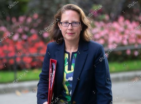 Baroness Evans of Bowes Park, Leader of the House of Lords, Lord Privy Seal, arrives in Downing Street for the Cabinet meeting.