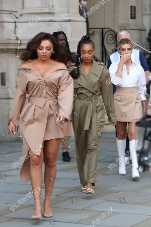 (L-R) Jesy Nelson, Leigh-Anne Pinnock and Perrie Edwards walk over to Radio 1 ahead of their Live Lounge performance