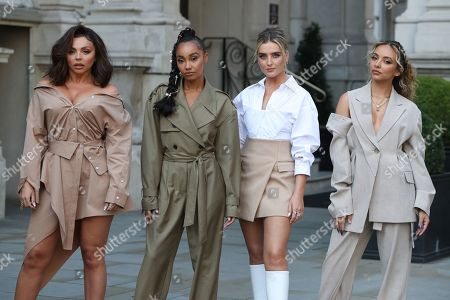 Stock Photo of (L-R) Jesy Nelson, Leigh-Anne Pinnock, Perrie Edwards and Jade Thirlwall walk over to Radio 1 ahead of their Live Lounge performance