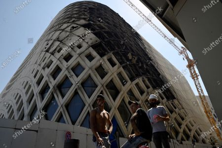 The aftermath of the fire that erupted in a landmark modern building, designed by the late world-renowned British-Iraqi architect Zaha Hadid, at Beirut Souks in Beirut, Lebanon, 15 September 2020. The cause of the fire is still yet to be known.