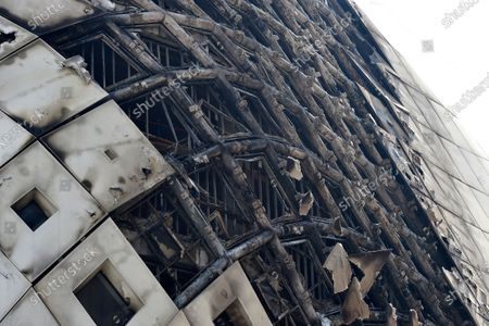 A view of a damaged part of the construction after a fire that erupted in a landmark modern building, designed by the late world-renowned British-Iraqi architect Zaha Hadid, at Beirut Souks in Beirut, Lebanon, 15 September 2020. The cause of the fire is still yet to be known.