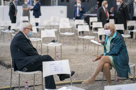 Stock Photo of German former foreign minister Joseph 'Joschka' Fischer (L) and Greens politician Claudia Roth (R) attend at the event to mark the Central Council of Jews in Germany's 70th anniversary, at the New Synagogue in Berlin, Germany, 15 September 2020. The Central Council was founded on 19 July 1950 just five years after the Shoa and has become the recognized group representing the interests of Jewish communities in Germany.