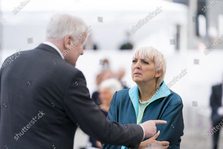 German Interior Minister Horst Seehofer (L) and Greens politicia Claudia Roth (R) attend at the event to mark the Central Council of Jews in Germany's 70th anniversary, at the New Synagogue in Berlin, Germany, 15 September 2020. The Central Council was founded on 19 July 1950 just five years after the Shoa and has become the recognized group representing the interests of Jewish communities in Germany.