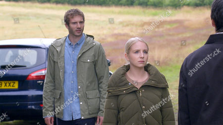 Emmerdale - Ep 8843 Wednesday 23rd September 2020 Jamie Tate, as played by Alexander Lincoln, declares his love for Belle Dingle, as played by Eden Taylor-Draper, but his smile disappears when he spots a menacing Cain dingle, as played by Jeff Hordley, approaching.