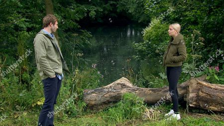 Emmerdale - Ep 8843 Wednesday 23rd September 2020 Jamie Tate, as played by Alexander Lincoln, declares his love for Belle Dingle, as played by Eden Taylor-Draper, but his smile disappears when he spots a menacing Cain Dingle approaching.