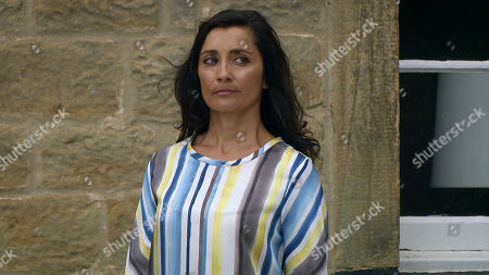 Stock Picture of Emmerdale - Ep 8847 Monday 28th September 2020 Meena arrives, desperate for a reconciliation with Manpreet Sharma, as played by Rebecca Sarker.