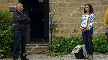 Emmerdale - Ep 8847 Monday 28th September 2020 Meena, as played by Paige Sandhu, arrives, desperate for a reconciliation with Manpreet Sharma. With Rishi Sharma, as played by Bhasker Patel.