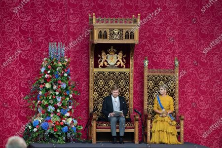 Queen Maxima and King Willem-Alexander during the presentation of the dutch 2021 budget memorandum and the opening of the parliamentary year at the De Grote of Sint-Jacobskerk (church)