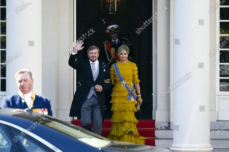 Queen Maxima and King Willem-Alexander and Princess Laurentien and Prince Constantijn leaving palace Noordeinde for the presentation of the dutch 2021 budget memorandum and the opening of the parliamentary year at the De Grote of Sint-Jacobskerk (church)