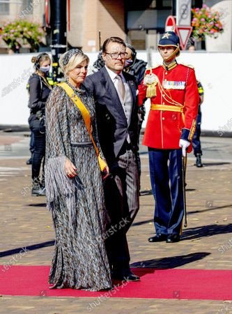 Stock Image of Princess Laurentien and Prince Constantijn during the presentation of the dutch 2021 budget memorandum and the opening of the parliamentary year at the De Grote of Sint-Jacobskerk (church)