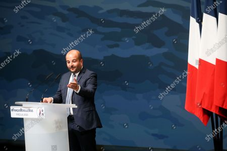 Stock Photo of RN far-right party Frejus mayor David Rachline delivers the opening speech