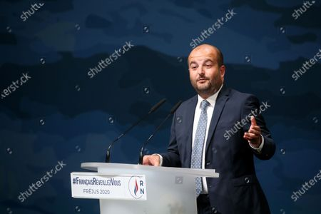 Stock Picture of RN far-right party Frejus mayor David Rachline delivers the opening speech