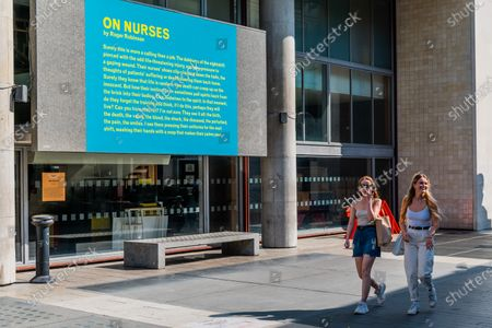On Nurses by Roger Robinson - Everyday Heroes is an outdoor exhibition on walls and windows around the Southbank Centre. It celebrates the contributions that key workers and frontline staff have made during the coronavirus pandemic.