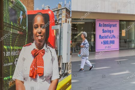 Stock Image of Juergen Teller, Natasha, London, 2020, a London bus driver, and Jeremy Deller, An Immigrant Saving a Racist's Life x 500,000, 2020 - Everyday Heroes is an outdoor exhibition on walls and windows around the Southbank Centre. It celebrates the contributions that key workers and frontline staff have made during the coronavirus pandemic.