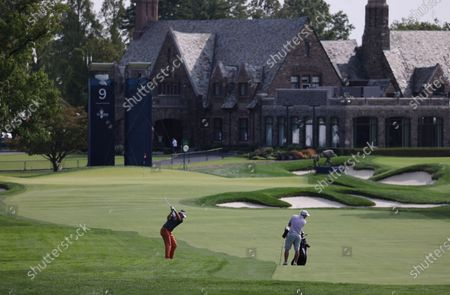 Ian Poulter of England hits from off the fairway on the eighteenth hole during a practice round for the 2020 US Open at Winged Foot Golf Club in Mamaroneck, New York, USA, 15 September 2020. The 2020 US Open will be played from 17 September through 20 September in front of no fans due to the ongoing coronovirus pandemic.