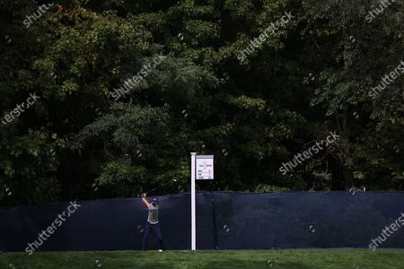 Ryo Ishikawa of Japan hits from the tee on the twelfth hole during a practice round for the 2020 US Open at Winged Foot Golf Club in Mamaroneck, New York, USA, 15 September 2020. The 2020 US Open will be played from 17 September through 20 September in front of no fans due to the ongoing coronovirus pandemic.