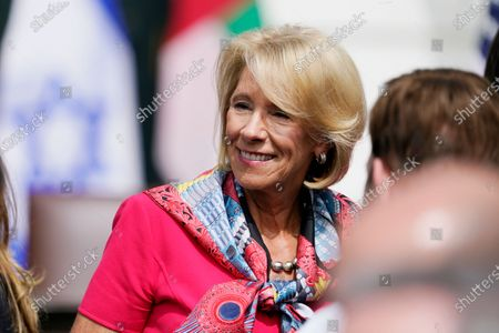 Education Secretary Betsy DeVos arrives on the South Lawn for a ceremony for the signing of the Abraham Accords, at the White House in Washington