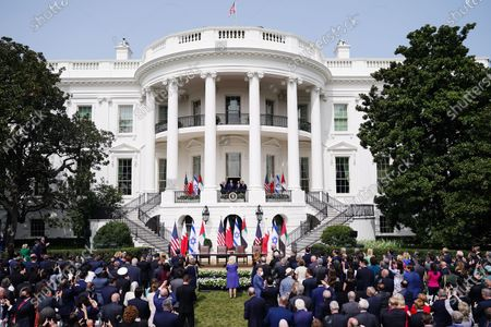 (L-R) Israeli Prime Minister Benjamin Netanyahu, US President Donald J. Trump, Bahrain Foreign Affairs Minister Sheikh Khalid Bin Ahmed Al-Khalifa, and UAE Foreign Affairs Minister Sheikh Abdullah bin Zayed bin Sultan Al Nahyan during the Abraham Accords signing ceremony, which normalizes relations between the United Arab Emirates and Bahrain with Israel, on the South Lawn of the White House in Washington, DC, USA, 15 September 2020.