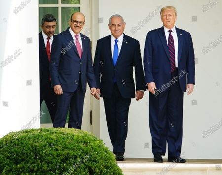 (L-R) UAE Foreign Affairs Minister Sheikh Abdullah bin Zayed bin Sultan Al Nahyan, Bahrain Foreign Affairs Minister Sheikh Khalid Bin Ahmed Al-Khalifa, Israeli Prime Minister Benjamin Netanyahu and US President Donald J. Trump arrive for the Abraham Accords signing ceremony, which normalizes relations between the United Arab Emirates and Bahrain with Israel, on the South Lawn of the White House in Washington, DC, USA, 15 September 2020.