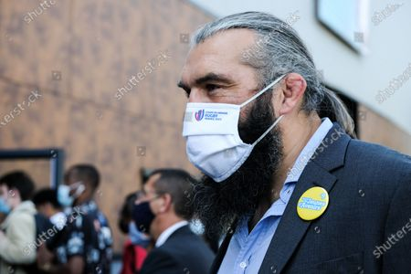 "Stock Picture of French rugby player Sebastien Chabal wearing a ""Rugby World Cup 2023"" mask at the Jeunes d Avenirs show"