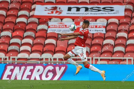 Stock Image of Ashley Fletcher (11) of Middlesbrough chests the ball during the game