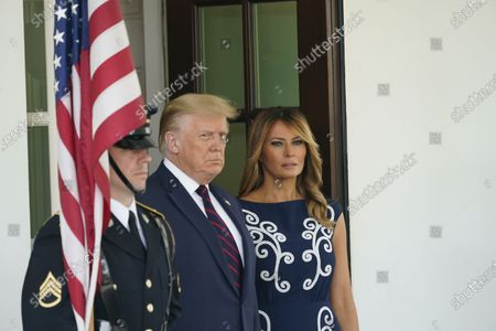 United States President Donald J. Trump and First lady Melania Trump await the arrival of Prime Minister Benjamin Netanyahu, and his wife Sara, of Israel, to the White House in Washington, DC on Tuesday, September 15, 2020.